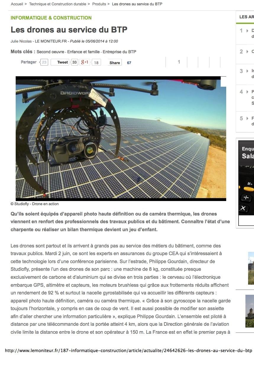 Article Le Moniteur sur StudioFly Technologie