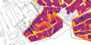 Carte d'une orthophotographie thermique d'un quartier d'habitation