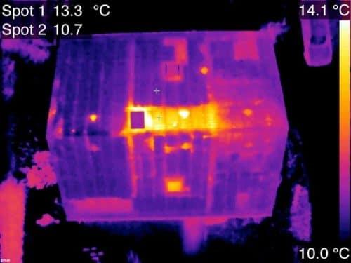 Thermogramme aérien toit maison GRDF