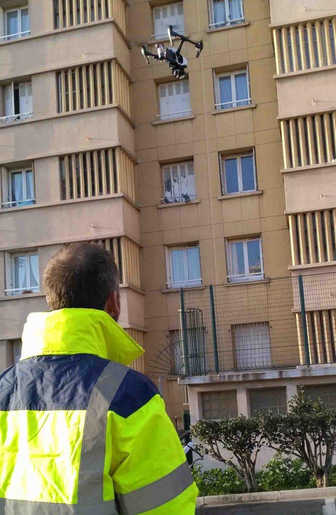 Inspection par drone d'un bâtiment