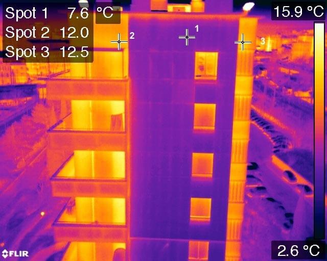 Image thermique par drone pour inspection de batiment
