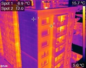 Thermogramme bâtiment par inspection drone